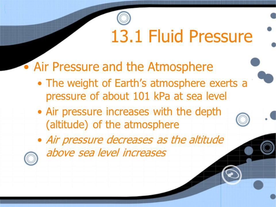13.1 Fluid Pressure Air Pressure and the Atmosphere