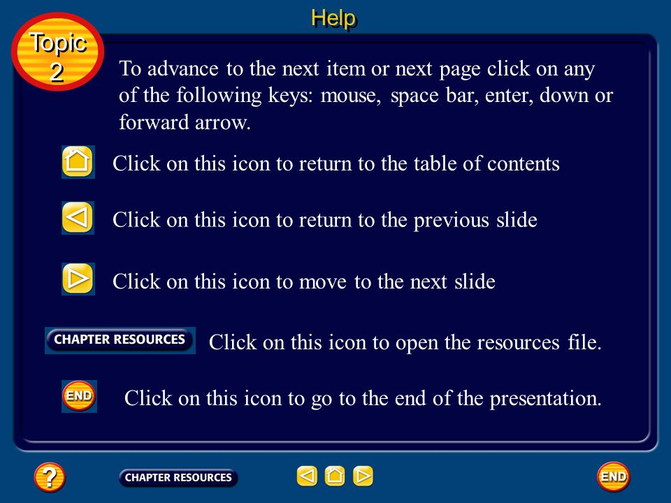 Help Topic. 2. To advance to the next item or next page click on any of the following keys: mouse, space bar, enter, down or forward arrow.