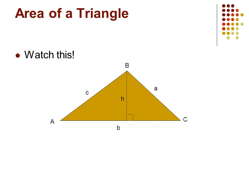 Area of a Triangle Watch this! A b c a C B h