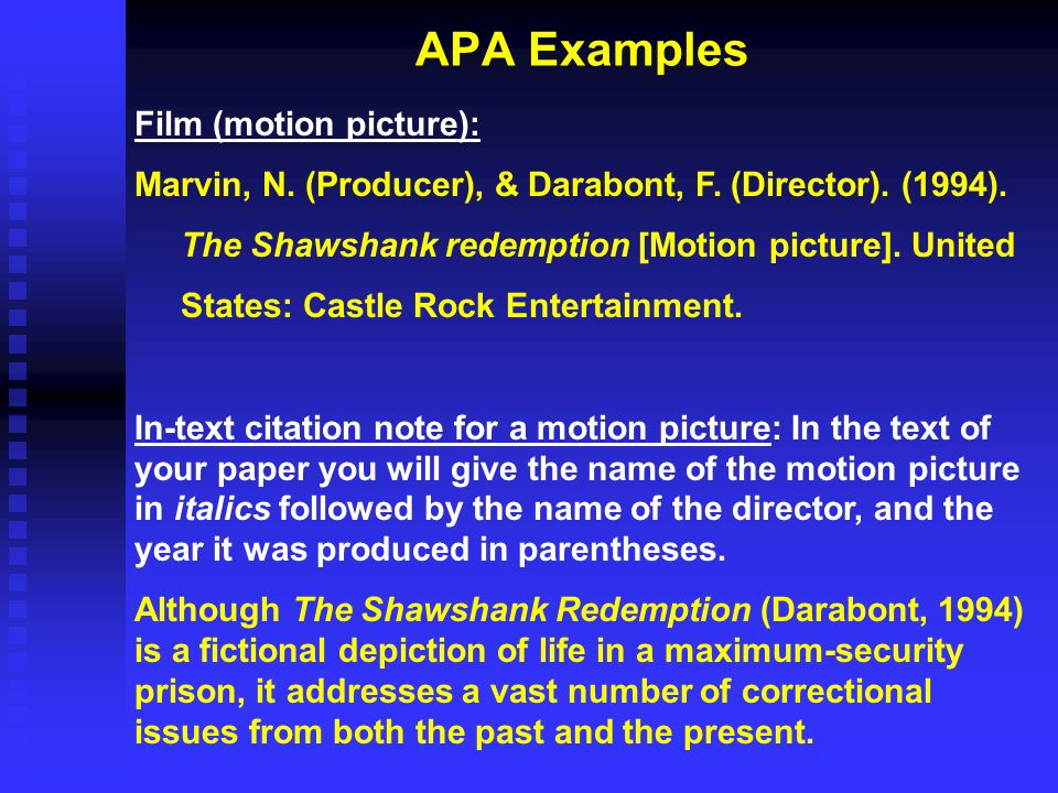 APA Examples Film (motion picture):