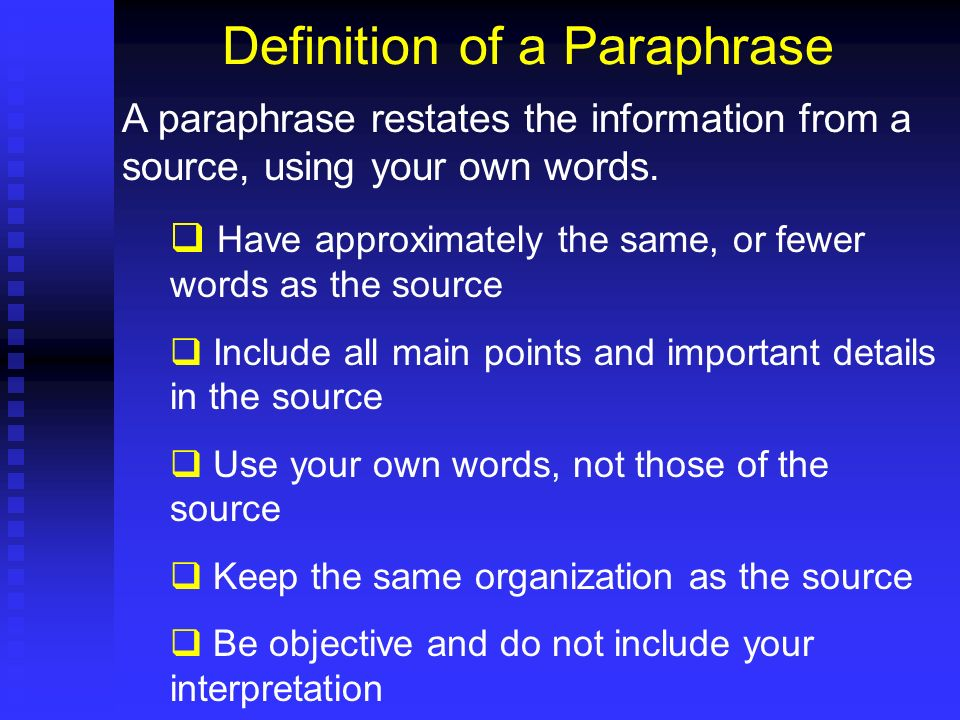 Definition of a Paraphrase