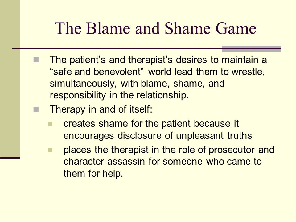 The Blame and Shame Game