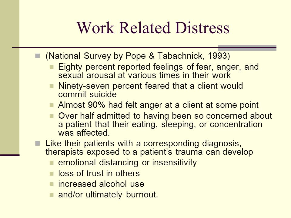 Work Related Distress (National Survey by Pope & Tabachnick, 1993)