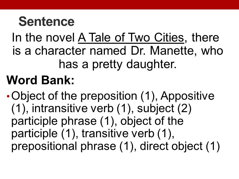 Sentence In the novel A Tale of Two Cities, there is a character named Dr. Manette, who has a pretty daughter.