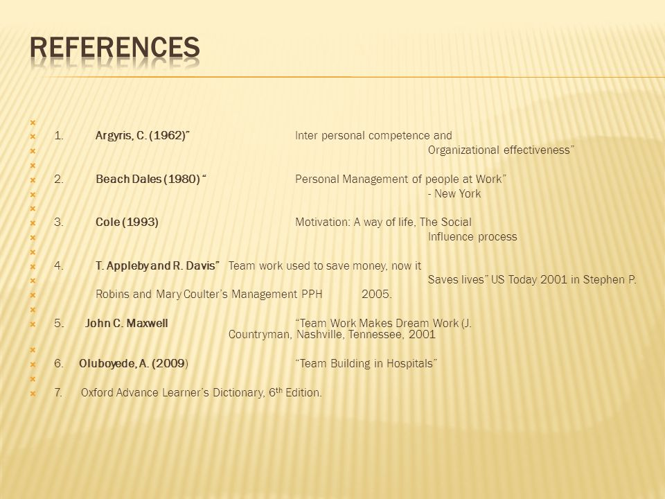 REFERENCES 1. Argyris, C. (1962) Inter personal competence and