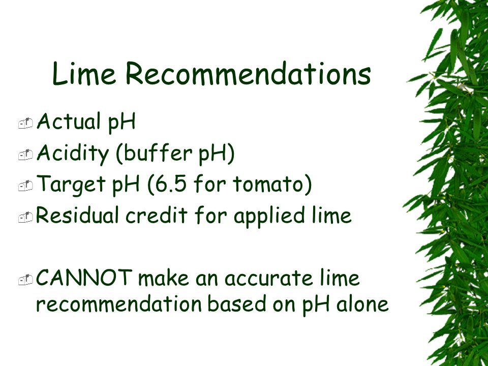 Lime Recommendations Actual pH Acidity (buffer pH)