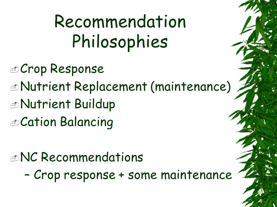 Recommendation Philosophies