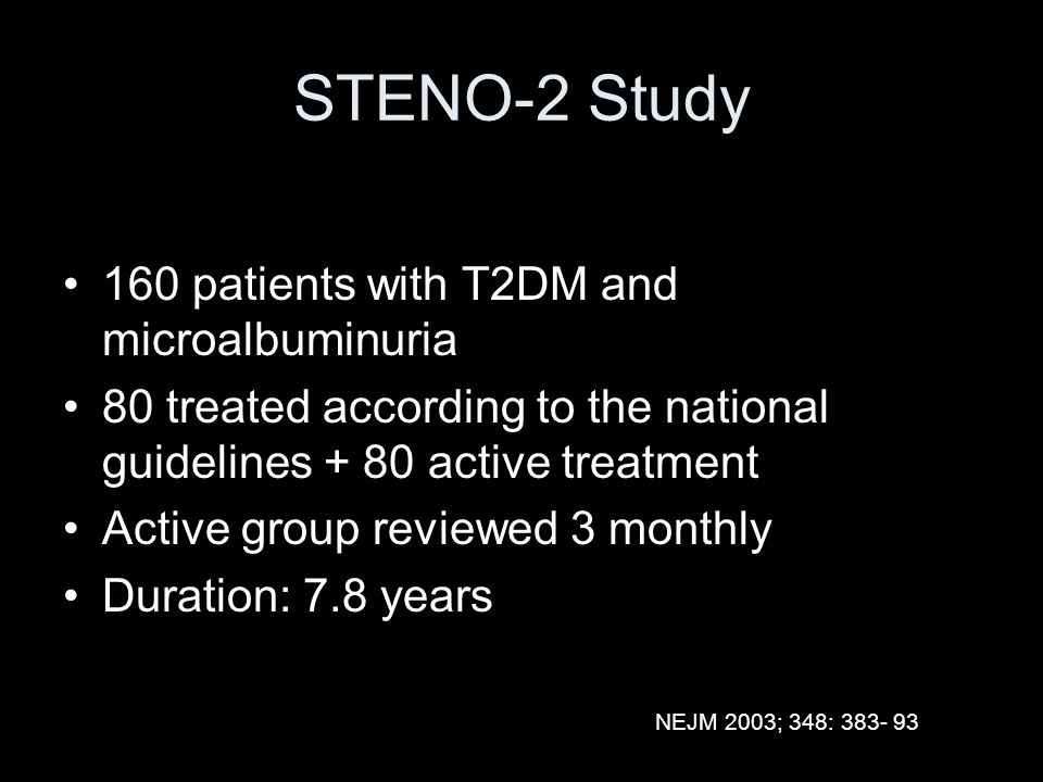 STENO-2 Study 160 patients with T2DM and microalbuminuria