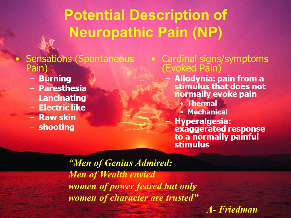 Potential Description of Neuropathic Pain (NP)