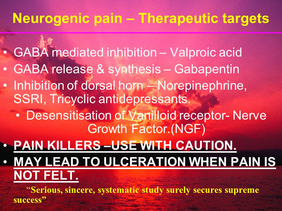 Neurogenic pain – Therapeutic targets