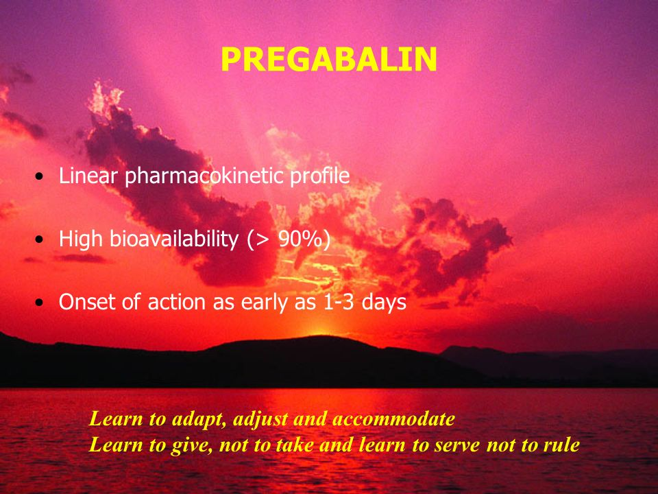 PREGABALIN Linear pharmacokinetic profile