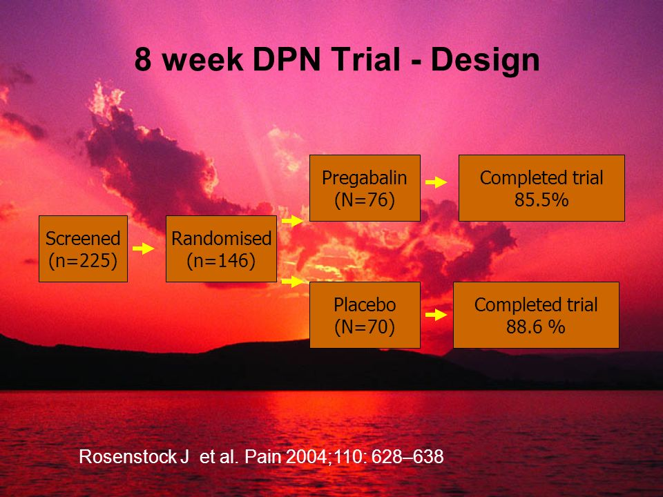 8 week DPN Trial - Design Pregabalin (N=76) Completed trial 85.5%