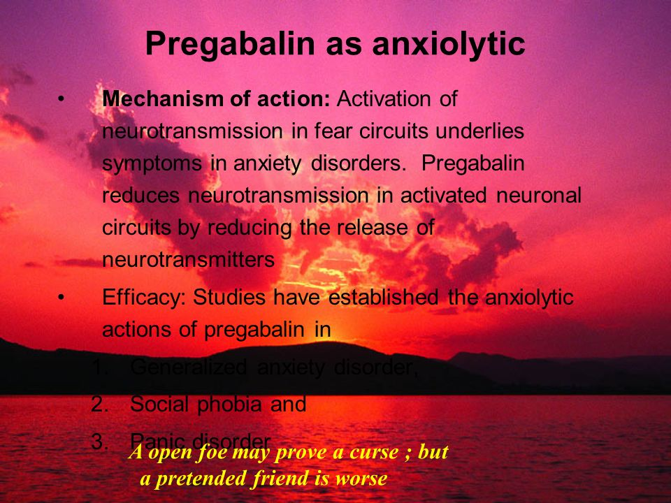 Pregabalin as anxiolytic
