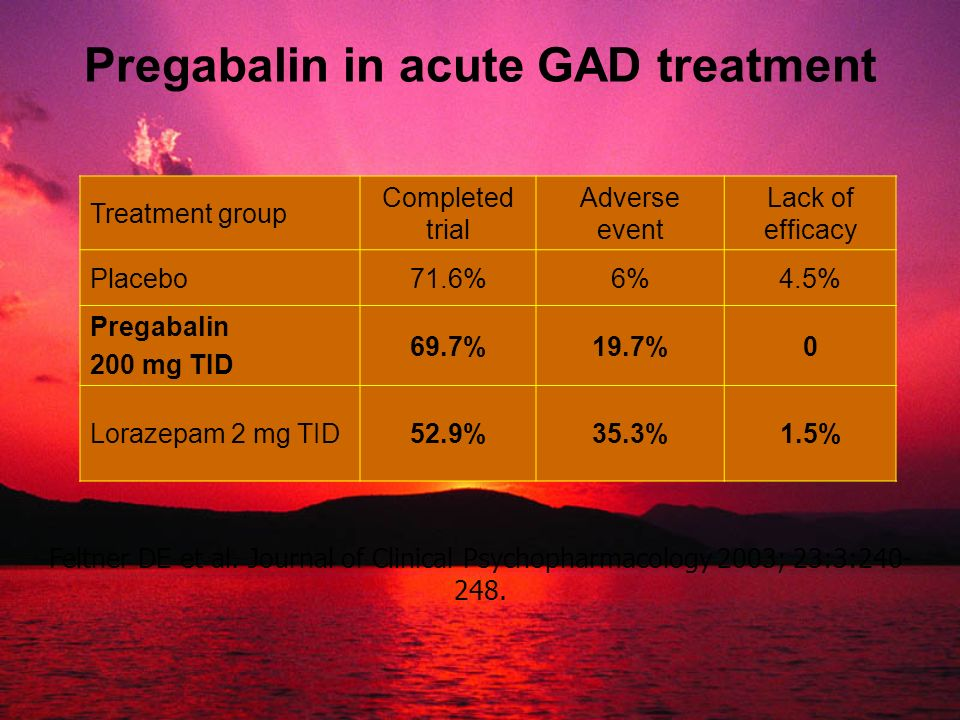 Pregabalin in acute GAD treatment