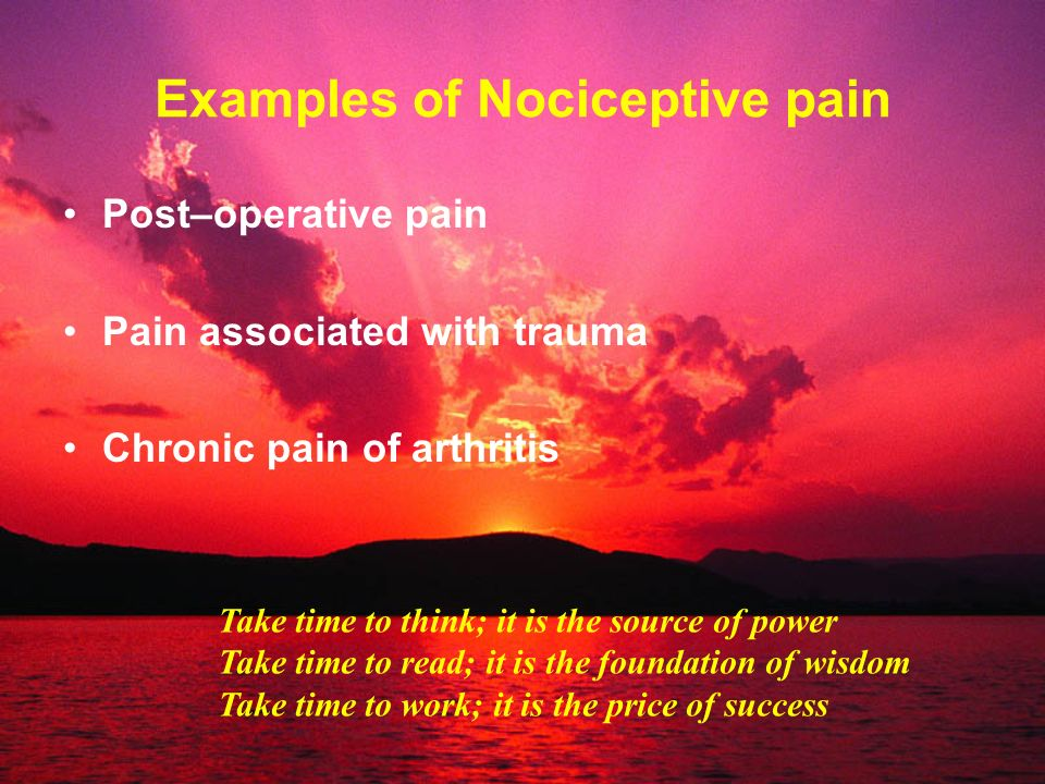 Examples of Nociceptive pain