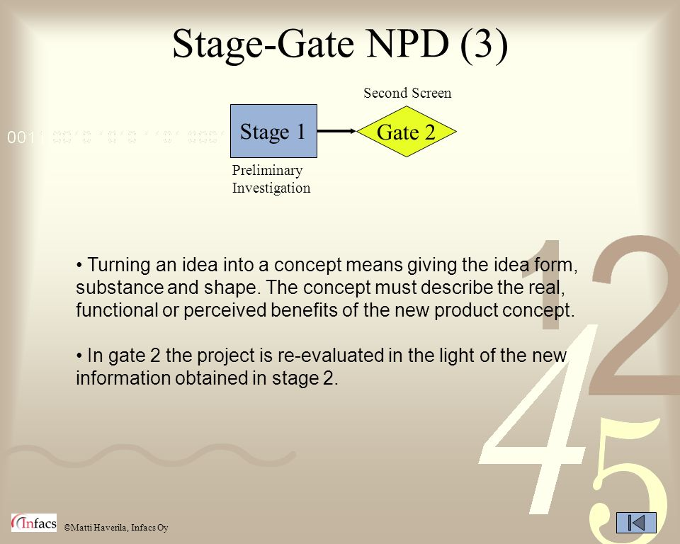 Stage-Gate NPD (3) Stage 1 Gate 2
