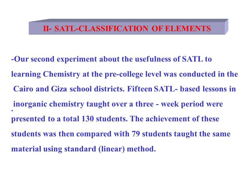 II- SATL-CLASSIFICATION OF ELEMENTS