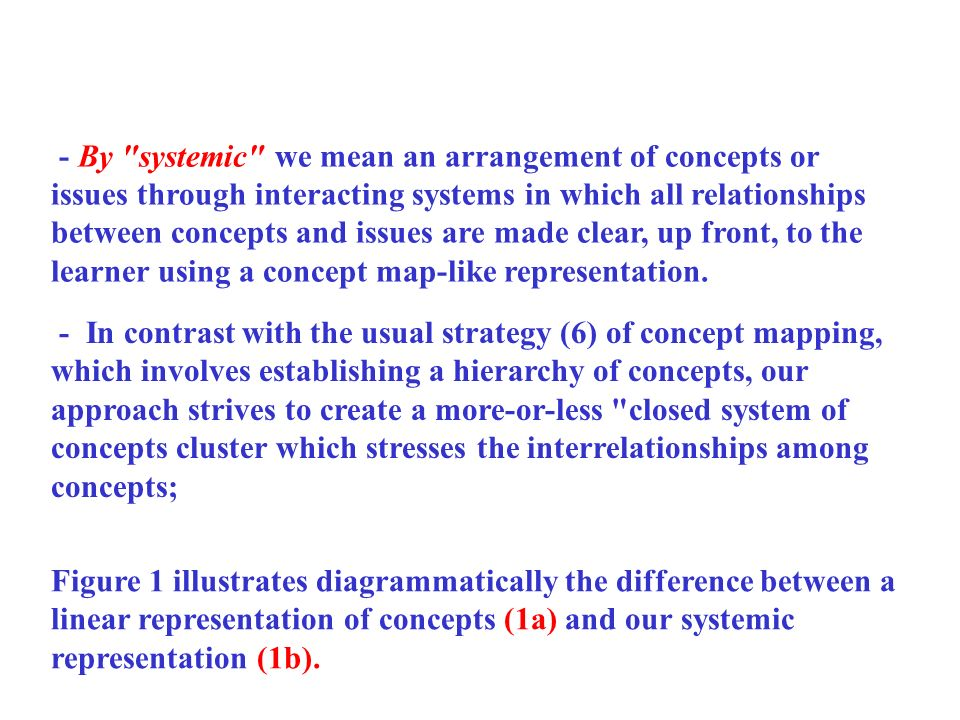 - By systemic we mean an arrangement of concepts or issues through interacting systems in which all relationships between concepts and issues are made clear, up front, to the learner using a concept map-like representation.