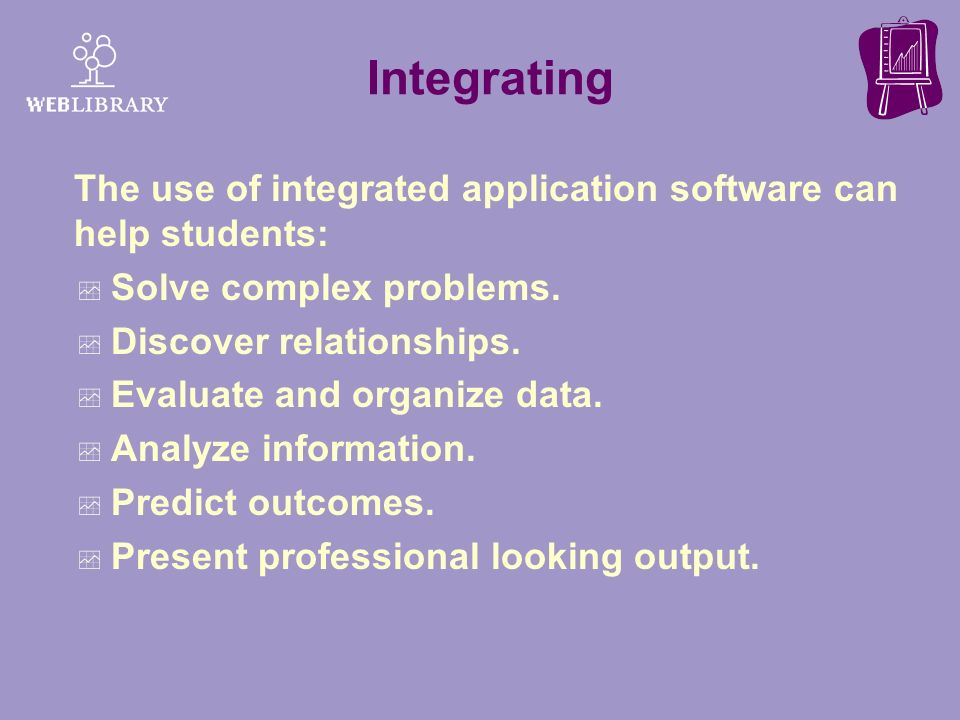 Integrating The use of integrated application software can help students: Solve complex problems. Discover relationships.