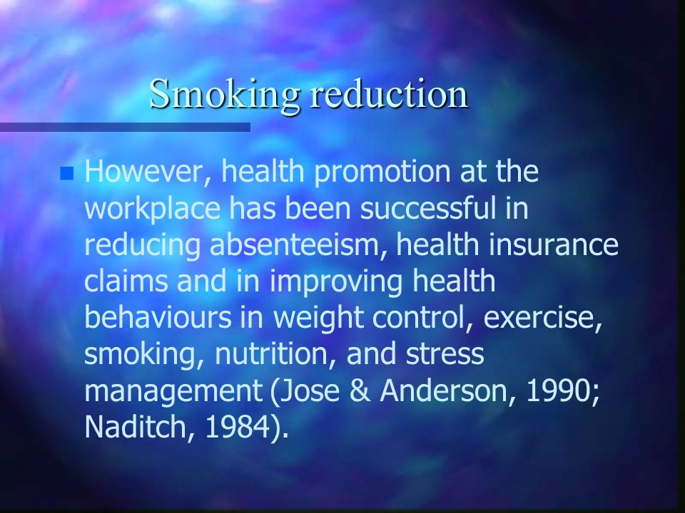Smoking reduction