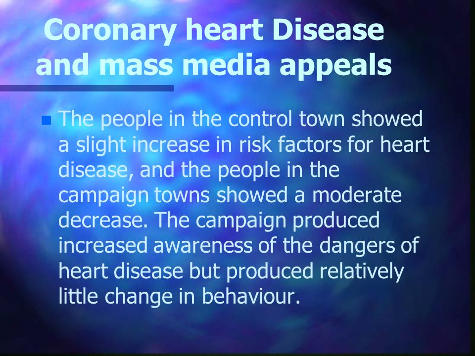 Coronary heart Disease and mass media appeals