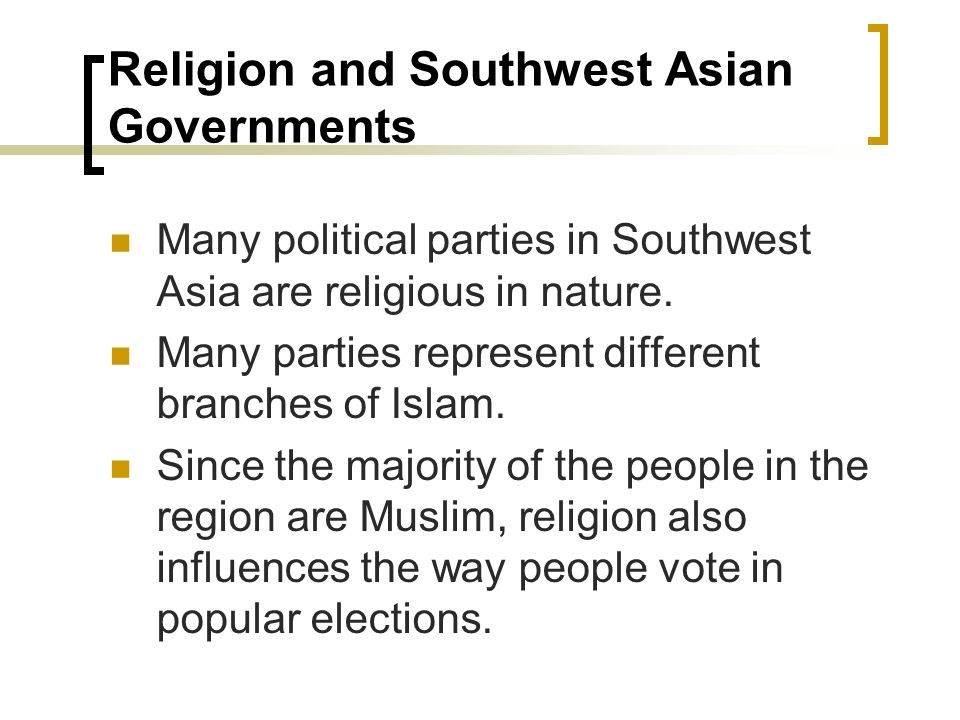 Religion and Southwest Asian Governments