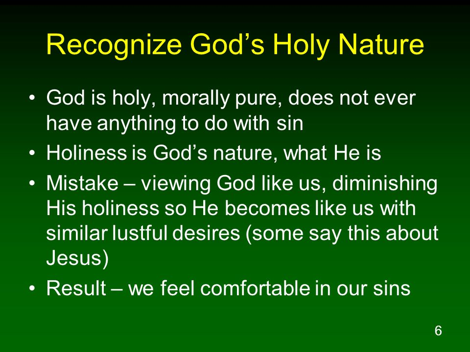 Recognize God's Holy Nature