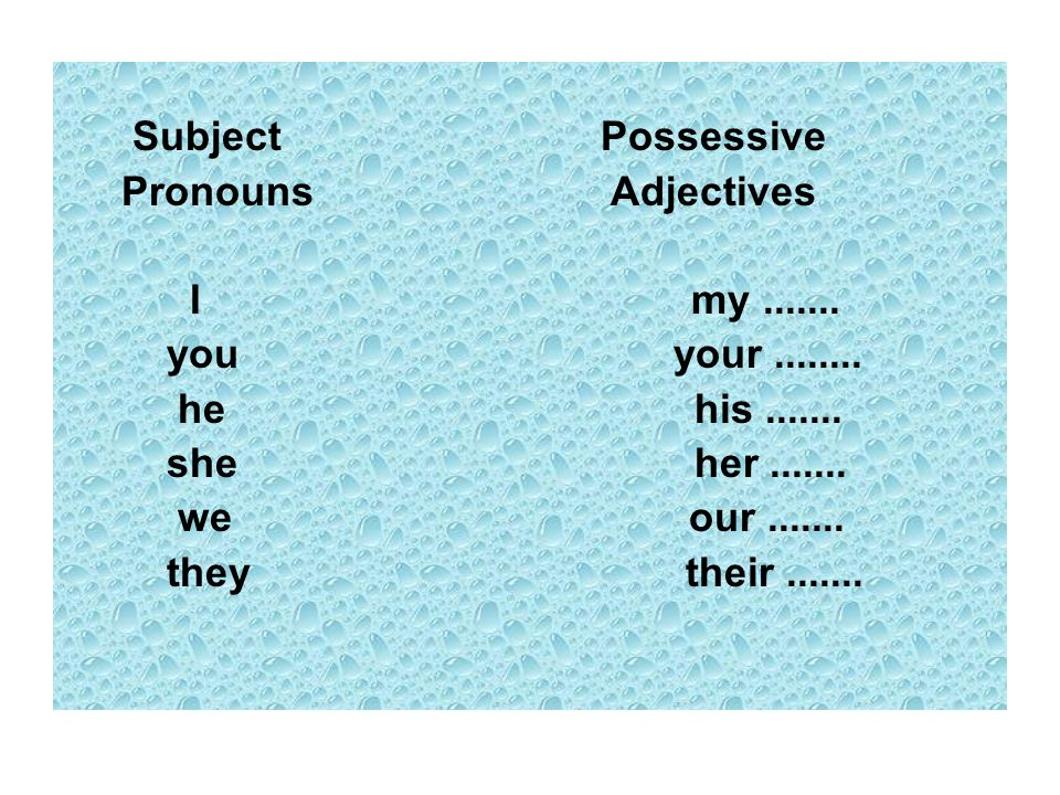 Pronouns Adjectives I my you your he his