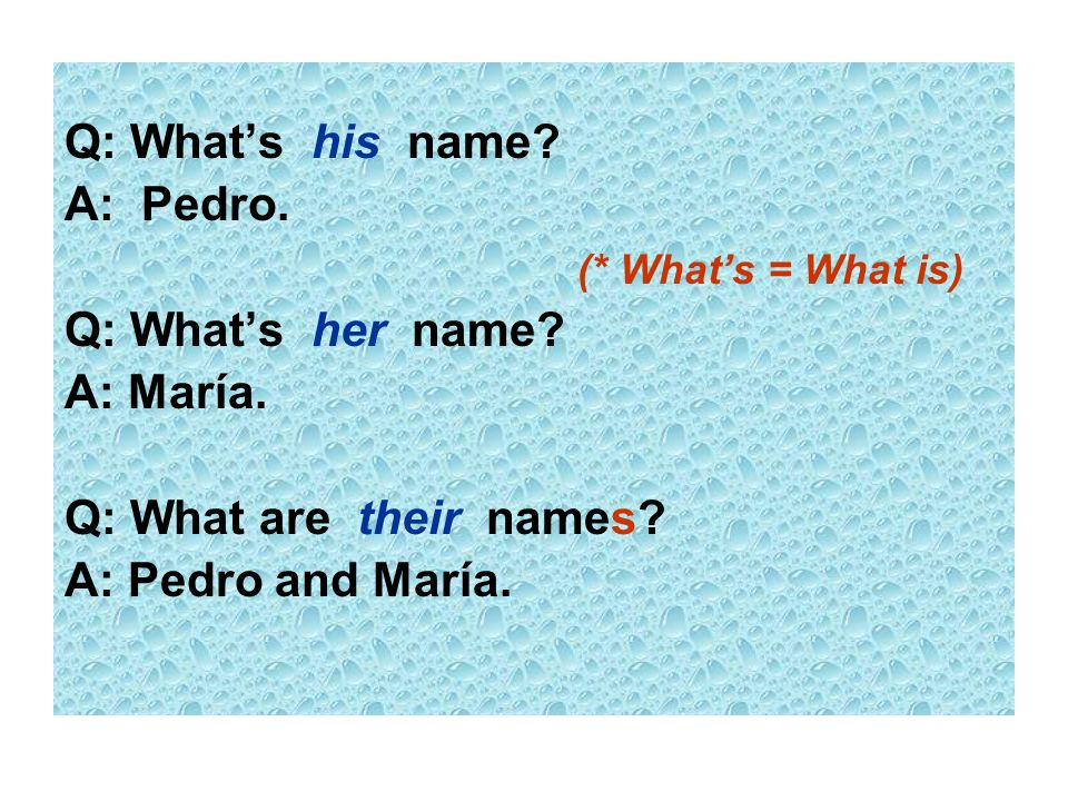 Q: What's his name A: Pedro. (* What's = What is) Q: What's her name A: María. Q: What are their names