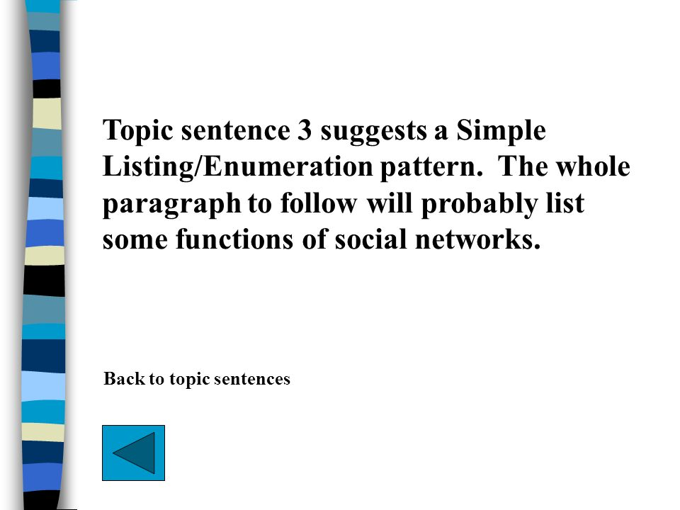 Topic sentence 3 suggests a Simple Listing/Enumeration pattern