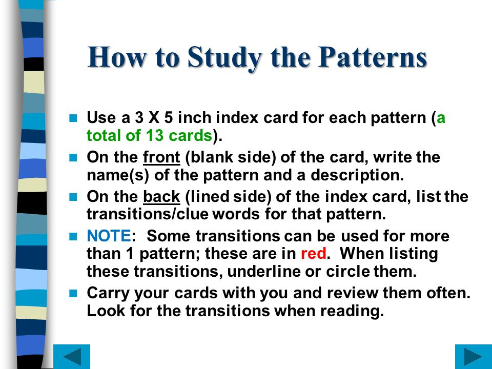 How to Study the Patterns