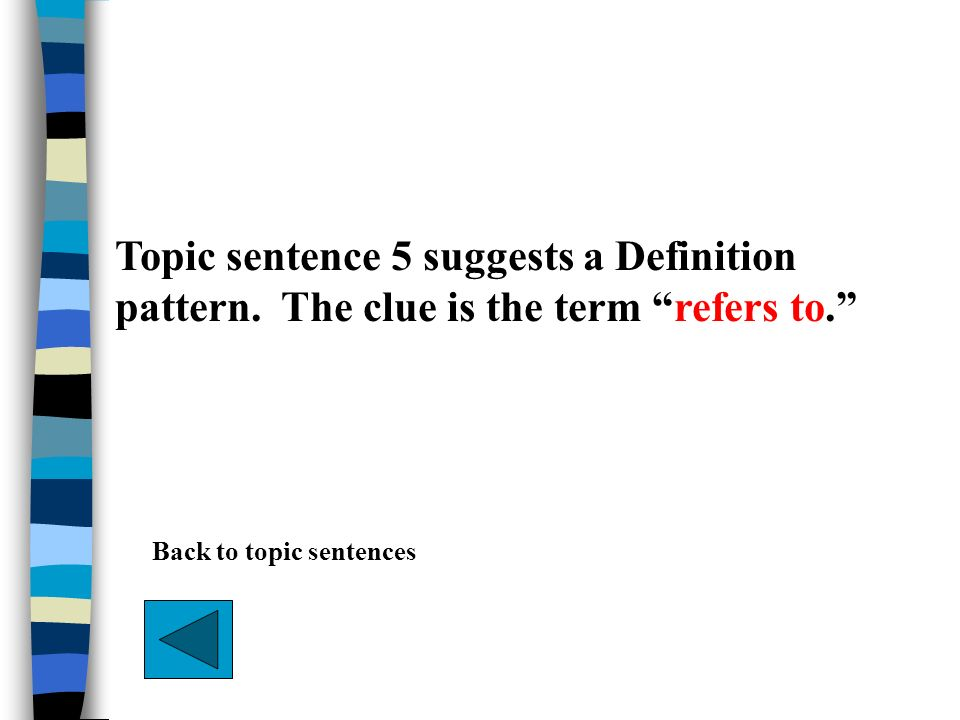 Topic sentence 5 suggests a Definition pattern