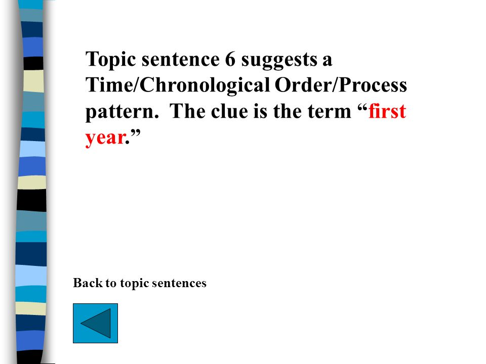 Topic sentence 6 suggests a Time/Chronological Order/Process pattern