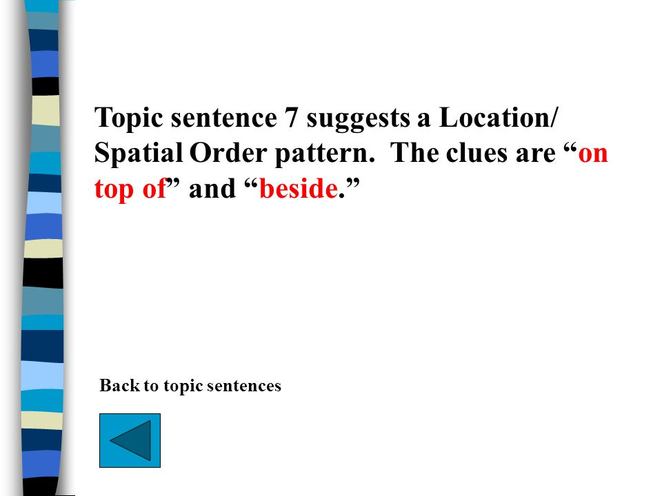 Topic sentence 7 suggests a Location/ Spatial Order pattern