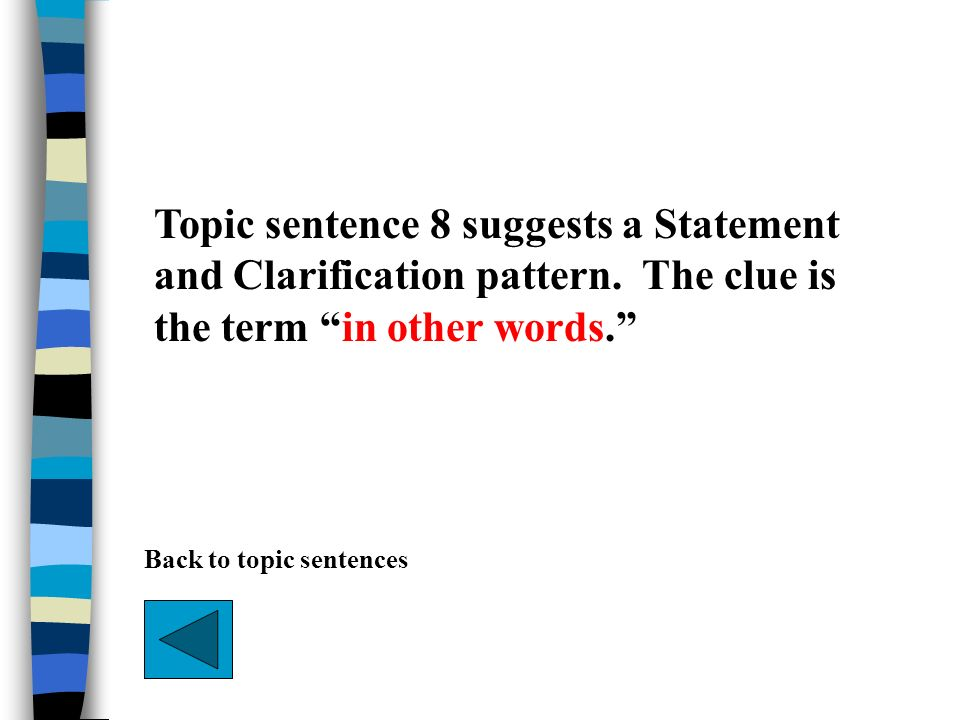 Topic sentence 8 suggests a Statement and Clarification pattern