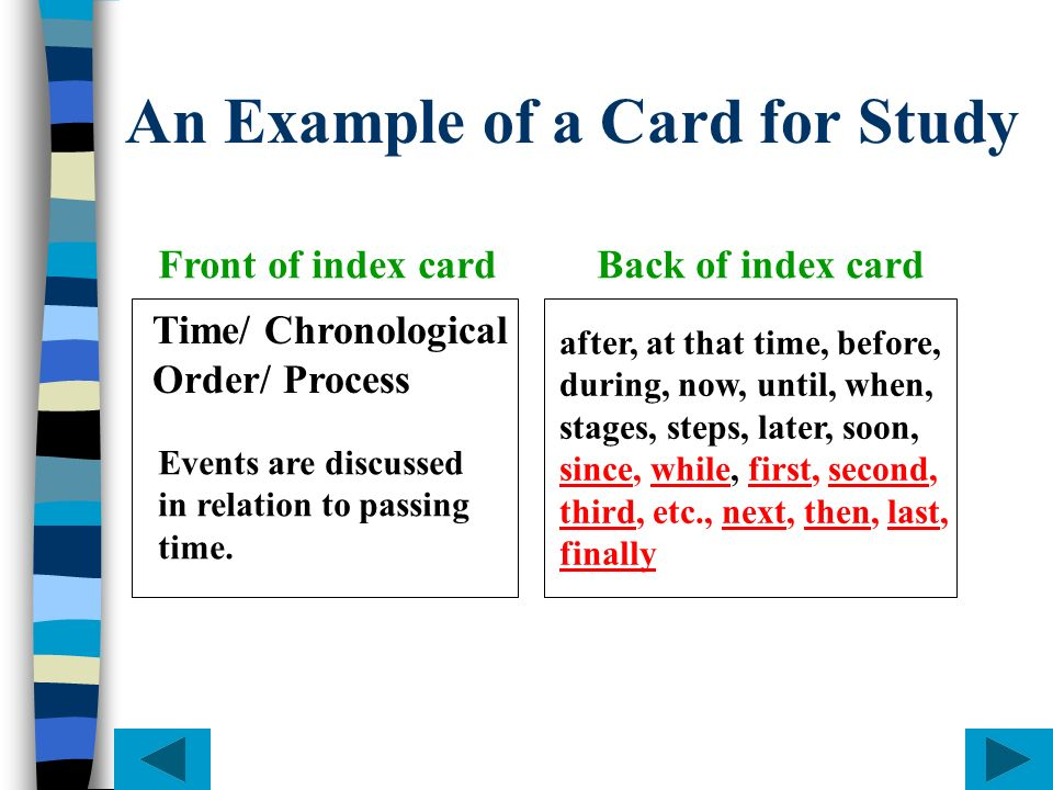 An Example of a Card for Study