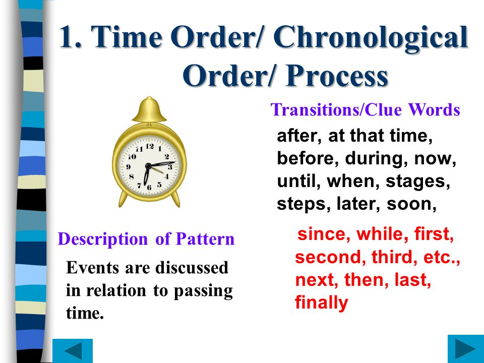 1. Time Order/ Chronological Order/ Process