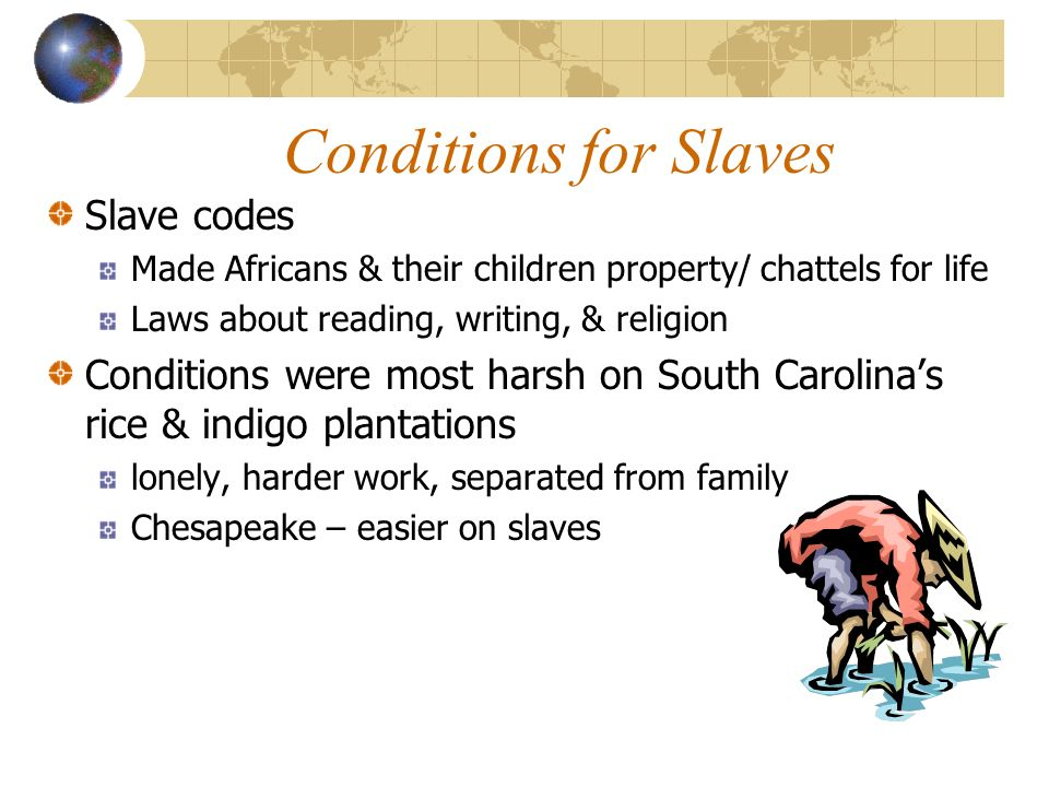 Conditions for Slaves Slave codes
