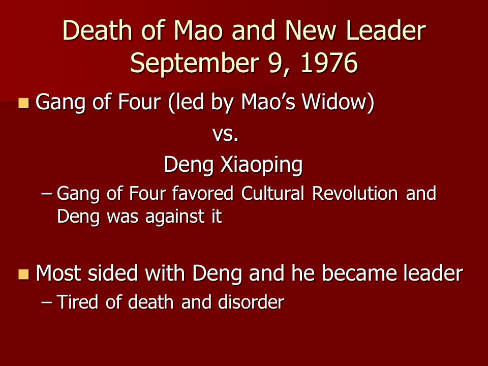 Death of Mao and New Leader September 9, 1976