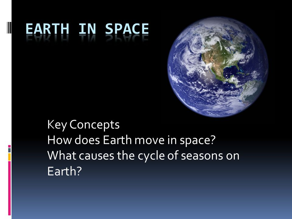 Earth in Space Key Concepts How does Earth move in space