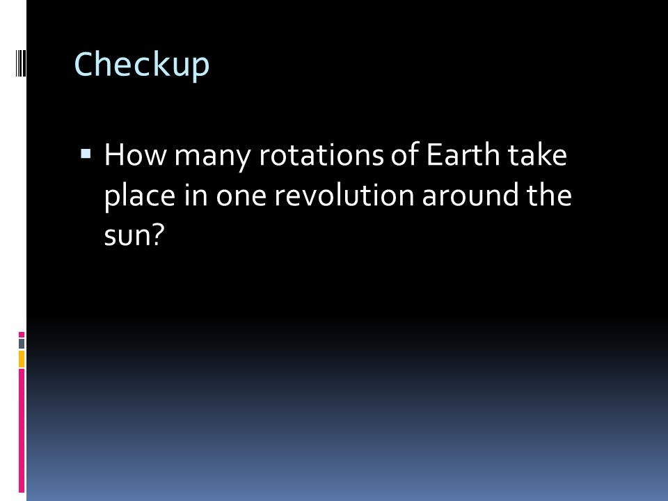 Checkup How many rotations of Earth take place in one revolution around the sun