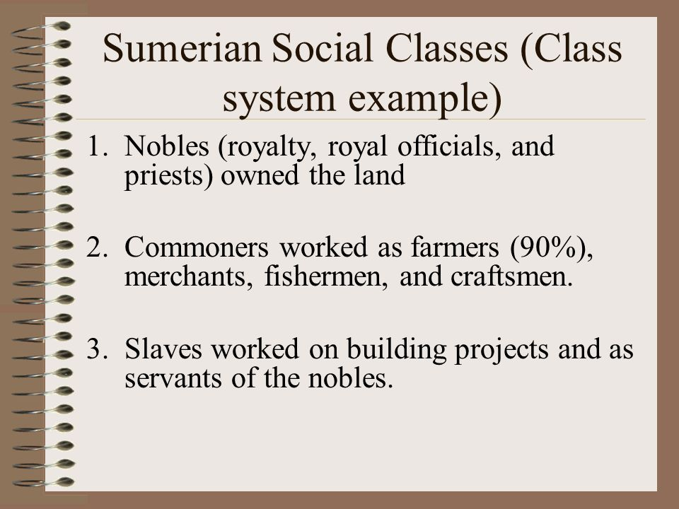 Sumerian Social Classes (Class system example)