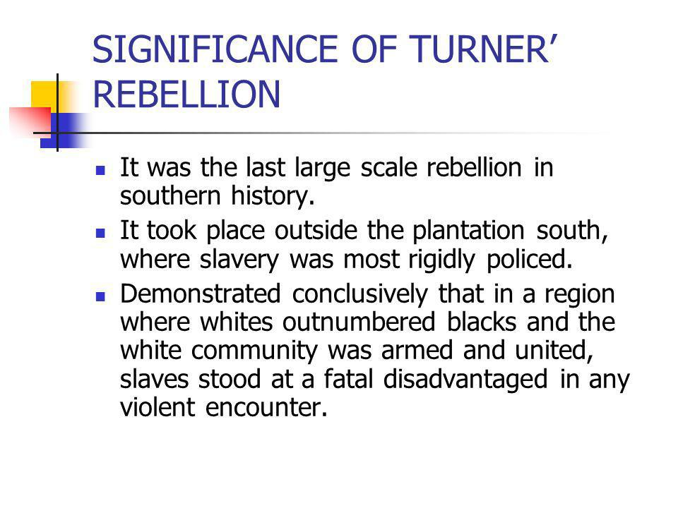 SIGNIFICANCE OF TURNER' REBELLION