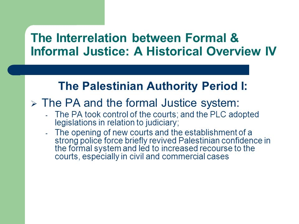 The Palestinian Authority Period I: