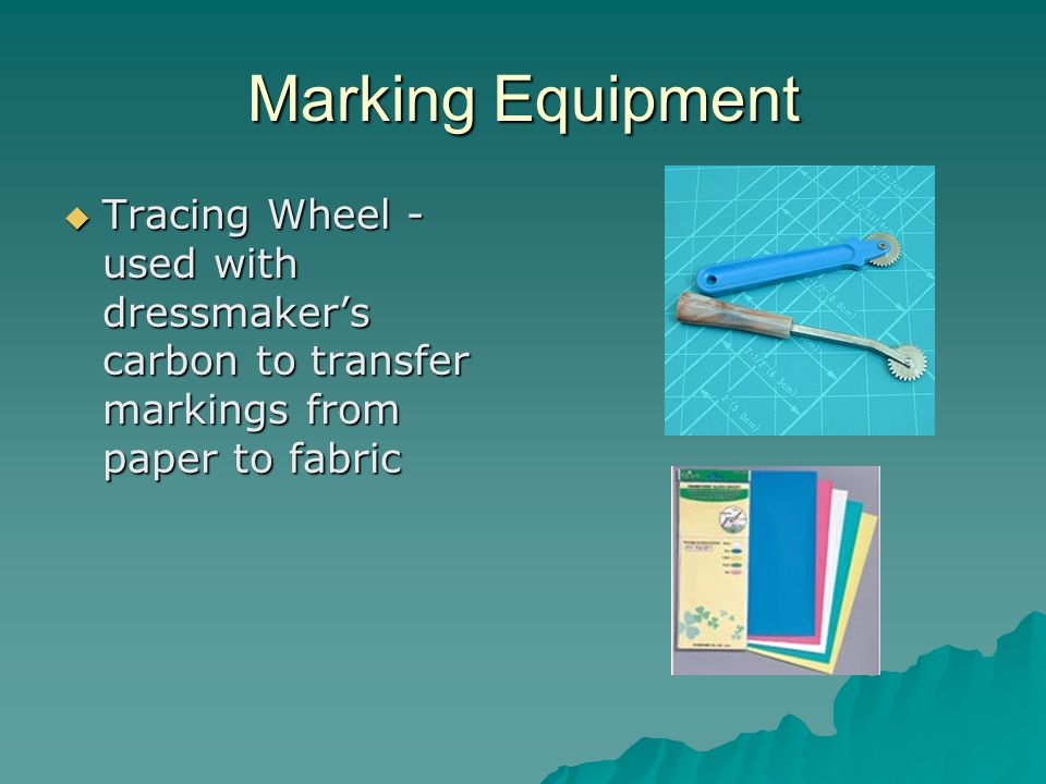 Marking Equipment Tracing Wheel - used with dressmaker's carbon to transfer markings from paper to fabric.
