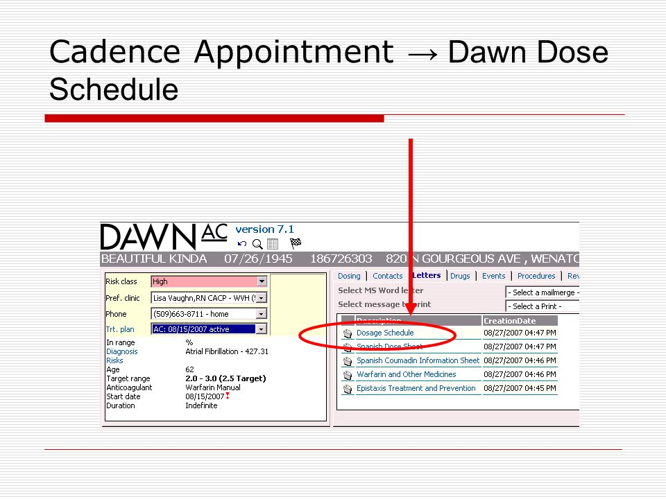 Cadence Appointment → Dawn Dose Schedule