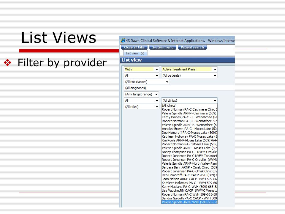 List Views Filter by provider