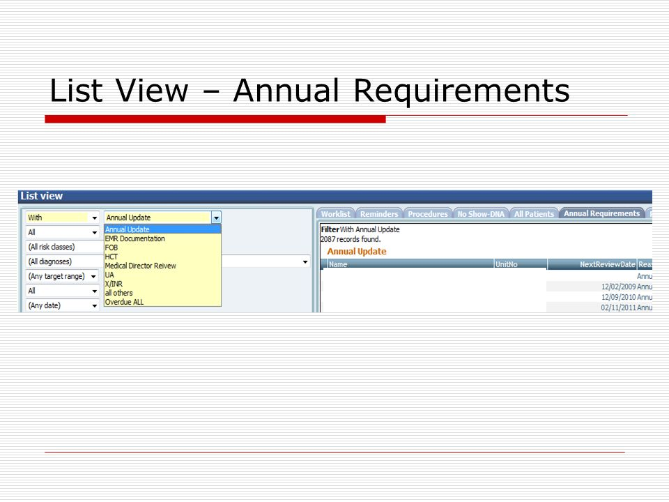List View – Annual Requirements