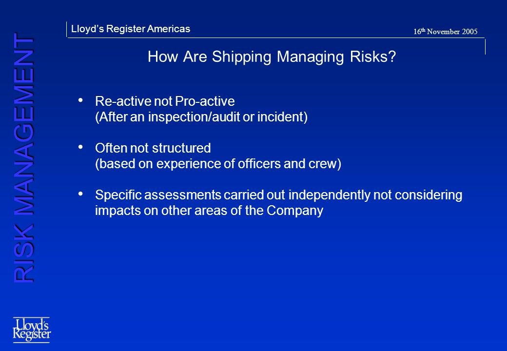 How Are Shipping Managing Risks
