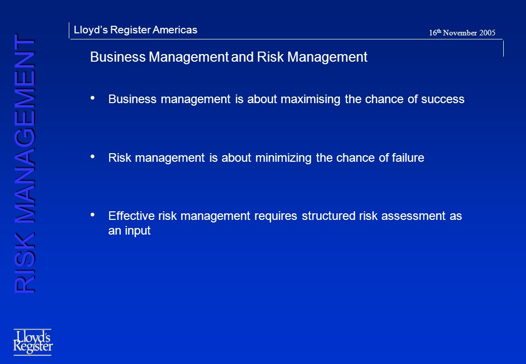 Business Management and Risk Management
